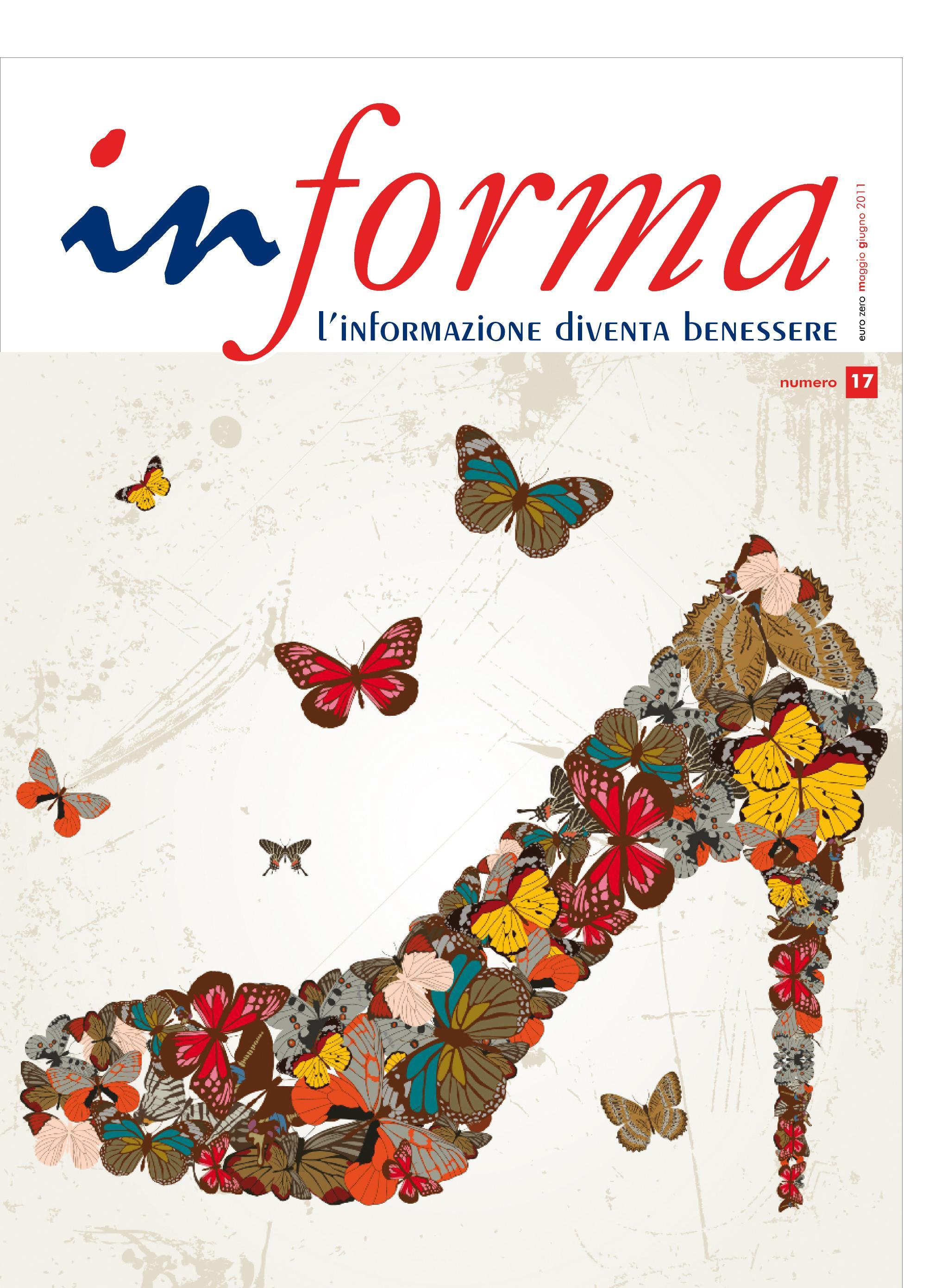 La copertina rappresenta una scarpa da donna creata da un insieme di farfalle colorate