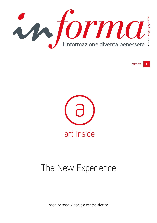 """La copertina di  Informa numero 1 del 2014 riporta il logo di art inside e la scritta """"The New Exoperience"""""""