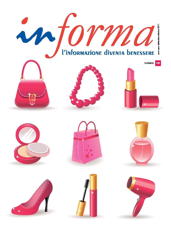 La copertina rappresenta una serie di tre oggetti di colore fucsia su tre righe. Nella prima riga: una borsetta, un bracciale, un rossetto; nella seconda: un set da trucco, un busta regalo e una confezione di profumo; nella terza: riga un scarpa da donna con tacco, del rimmel, e un fono