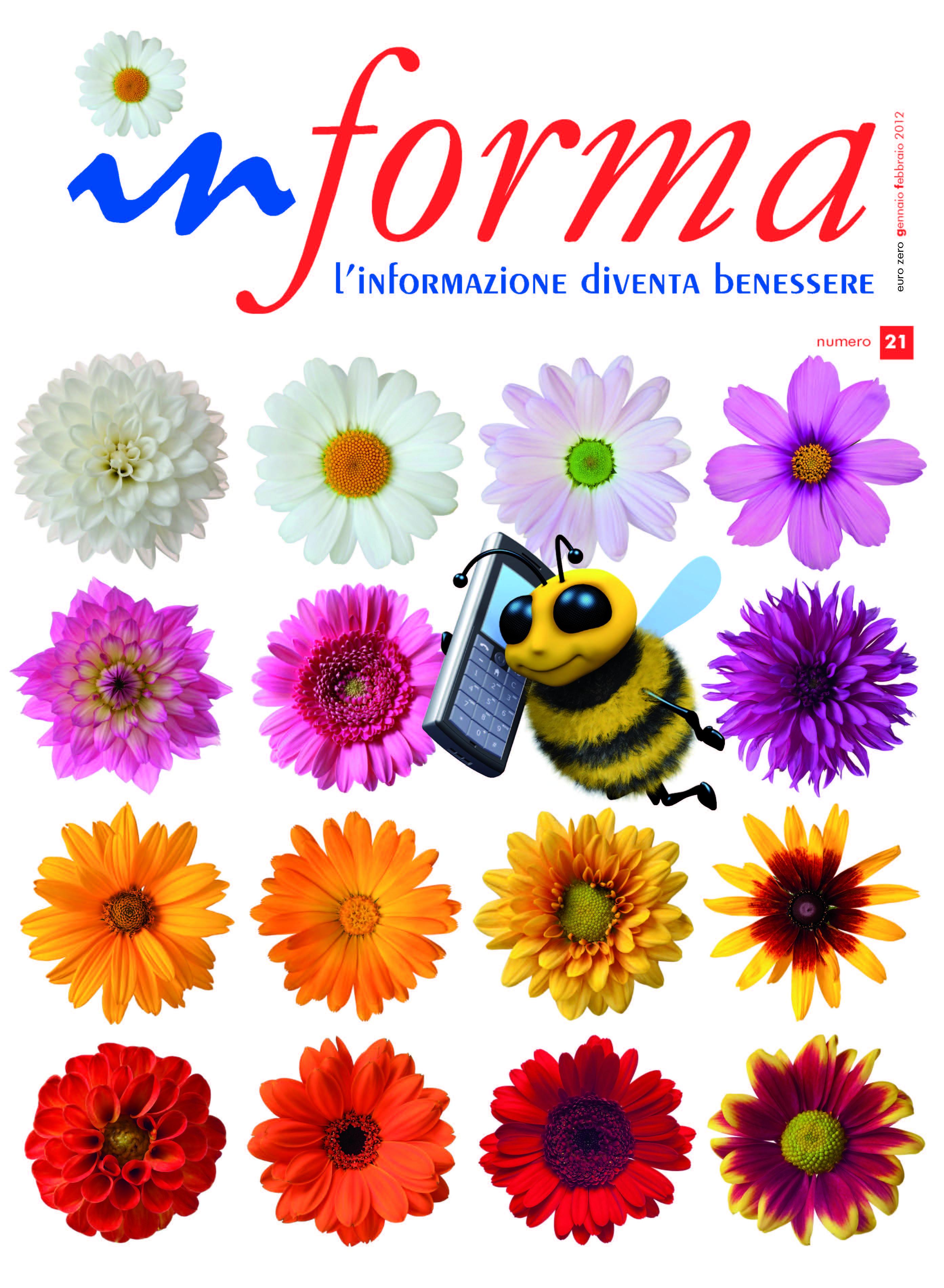 La copertina rappresenta in primo piano un ape che volando parla al cellulare, lo sfondo e' un prato fiorito