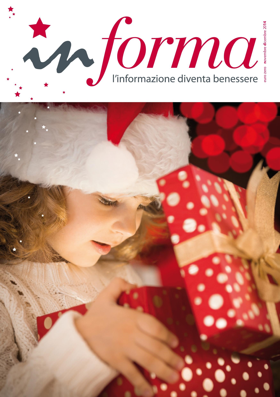 La copertina di  Informa numero di Natale del 2014 riporta una bambina bionda che apre un pacco natalizio rosso